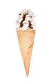 Vanilla ice cream cone with chocolate icing isolated on white background Royalty Free Stock Images