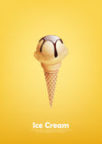Vanilla Ice cream in the cone, Pour chocolate syrup, Vector. Illustration eps10 Royalty Free Stock Image