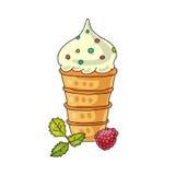 Vanilla ice-cream cone Stock Photo