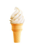 Vanilla ice cream cone realistic 3d icon. Vanilla ice cream in waffle cone isolated icon. Swirl of soft serve ice cream with textured waffle cup realistic 3d royalty free illustration
