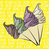 Vanilla ice cream cone vintage design Stock Photos