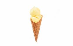 Vanilla ice cream cone on white background. Stock Photo