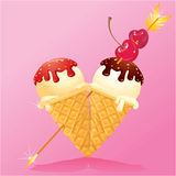 Vanilla Ice cream cones with Chocolate. And strawberry glaze in heart shape with arrow and cherry. Design for Valentines Day Royalty Free Stock Photography