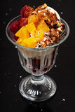 Vanilla ice cream with cranberries and cherries, oranges and walnuts. Stock Images