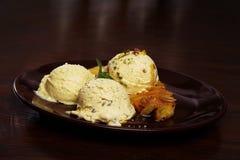 Vanilla ice cream on dark plate Stock Image