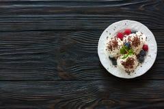 Vanilla ice cream with fresh berries Stock Photos