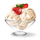 Vanilla ice cream with fresh strawberry. Illustration Royalty Free Stock Images
