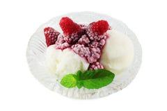 Vanilla ice cream and frozen raspberries Stock Photos