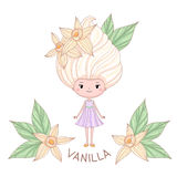 Vanilla ice cream girl character. Vector illustration of cartoon girl with ice cream instead of the hairstyle, isolated on white background Royalty Free Stock Images