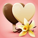 Vanilla ice cream. Heart shaped frosted sweet ice-cream on a stick with flower and pods. Realistic detailed vector illustration Royalty Free Stock Photos