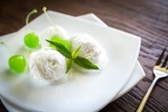 Vanilla ice cream with maraschino cherries Stock Images