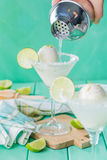 Vanilla ice cream margarita floats Stock Photos