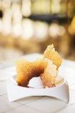 Vanilla ice cream with milk caramel chips gourmet dessert. In restaurant Stock Photo