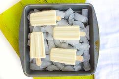 Vanilla ice cream popsicles Stock Photos