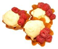 Vanilla Ice Cream With Raspberries Royalty Free Stock Image