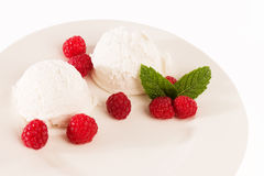 Vanilla ice cream with raspberries from top Royalty Free Stock Image