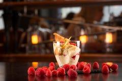 Vanilla ice cream. With raspberry on the bar Royalty Free Stock Image