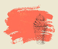 Vanilla ice cream on red grunge background. Stock Images
