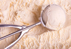 Vanilla ice cream and scoop Royalty Free Stock Images