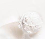 Vanilla ice cream scoop closeup. White  Ice Cream Background Royalty Free Stock Photography