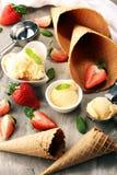 Vanilla ice cream scoop with fresh strawberries and icecream cones royalty free stock photos