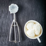 Vanilla Ice Cream. And  scoop on a stone plate Stock Photo