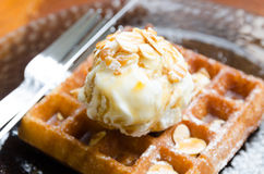 Vanilla ice cream scoop on waffle Royalty Free Stock Photography