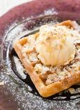 Vanilla Ice Cream Scoop On Waffle Royalty Free Stock Photos