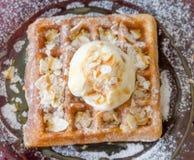 Vanilla Ice Cream Scoop On Waffle Stock Images