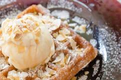Vanilla Ice Cream Scoop On Waffle Stock Photos