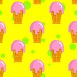 Vanilla ice cream seamless pattern. Cold milk pink dessert. Stra Royalty Free Stock Photos