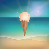 Vanilla ice cream on sunny beach Stock Photos