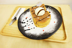 Vanilla Ice Cream Toast Bread with Icing Sugar on Wooden Table Stock Images