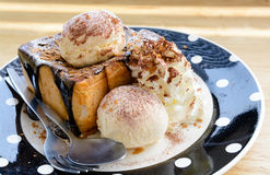 Vanilla ice cream on toasted bread Royalty Free Stock Photo