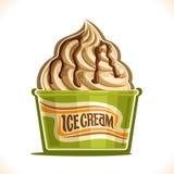 Vanilla Ice Cream. Vector illustration of Vanilla Ice Cream in paper cup, soft serve swirl sundae in cardboard tub box for menu cafe takeaway, on label original Stock Image