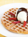 Vanilla Ice Cream Wafer. With chocolate sauce and strawberries royalty free stock photography