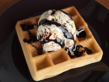Vanilla ice cream with waffle topped with chocolate Stock Photo