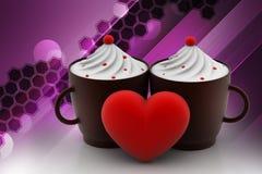 Vanilla ice creams with love heart Stock Photos