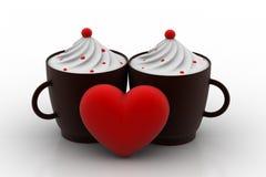 Vanilla ice creams with love heart Stock Photography