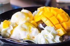 Vanilla Ice kräm med nya mango Arkivbild