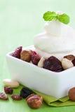 Vanilla ice with nuts Royalty Free Stock Photo