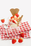 Vanilla icecream and fresh strawberries in sundae Stock Images
