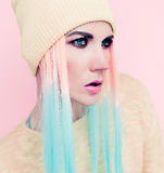 Vanilla Lady style. Fashioncolored hair Stock Photography