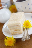 Vanilla layered cake. For breakfast Royalty Free Stock Photos