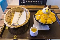 Vanilla lce cream with fresh mangoes,Decorated with bear head on black plate,With a glass of milk And spoon Basket royalty free stock photography