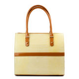 Vanilla leather handbag with brown handles isolated on white. Stock Image