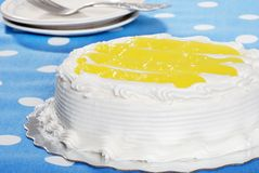 Vanilla Lemon Cake With Plates And Forks Stock Image