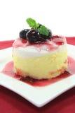 Vanilla-lemon dessert. With fruit sorbet stock photo