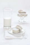 Vanilla Macarons on white background Royalty Free Stock Photography