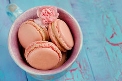 Vanilla macaroon in colorful cup Royalty Free Stock Photography